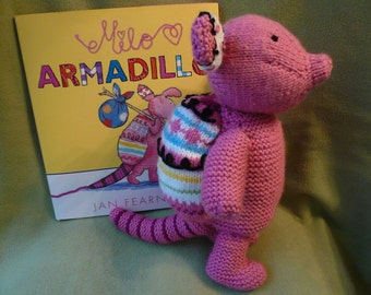Milo Armadillo Hand Knitted In Pink with Multi-Colored Shell, Children's Book, Story Book, Stuffed Animal, Stuffed Armadillo