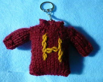 Harry Potter Inspired Hand Knit Sweater Key Chain with Initial, Accessory ,Key Holder