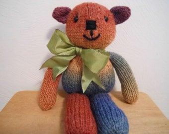 Hand Knitted Teddy Bear in Rainbow Color Yarn, Stuffed Animal, Handmade, Stuffed Bear