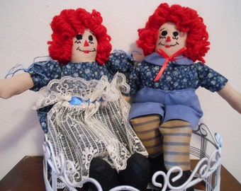 Little Raggedy Ann and Andy Handmade Dolls in Country Blue Flower Print Clothing, Old Fashion, Childhood Dolls