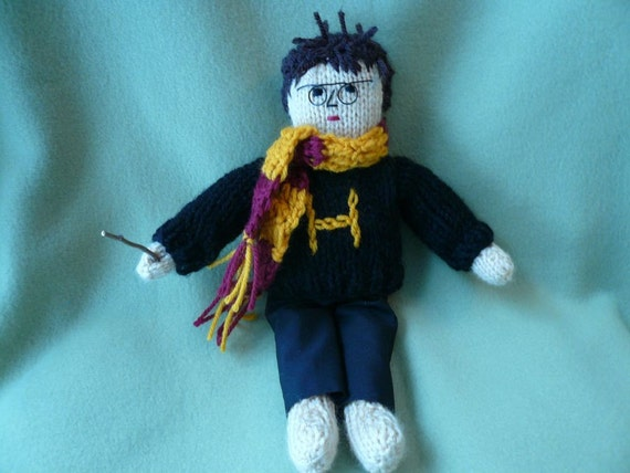 Hand Knitted Doll Harry Potter Inspired with Crochet Scarf, Wizard, Magical,Fantasy,Magic Spells, Hand Knitted Sweater, Magic Wand