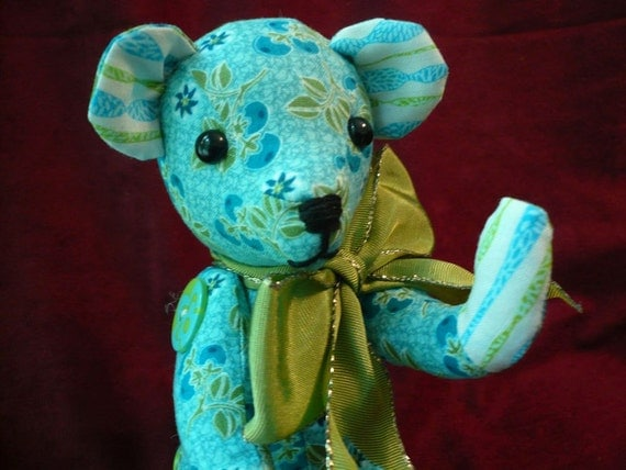 Small Teddy Bear Sewn with BlueBerry Print Fabric