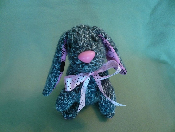 Little Bunny Hand Knitted in Gray and Cream Yarn with Pink Nose