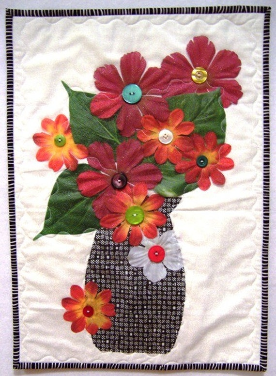 Forever Blooming Silk Flowers Quilt Kit 14 X 18 By