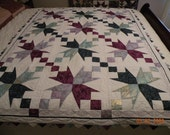 SALE;  Quilt, Purple, White and Greens Handmade