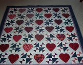Valentine Hand Made Heart Quilt - Hearts Afire Quilt