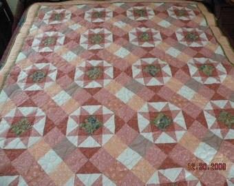 Peach Starburst Custom Designer Quilt