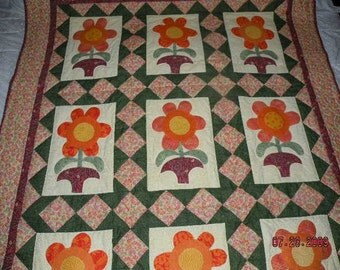 Hand Made Applique Quilt - Flowers and Pots
