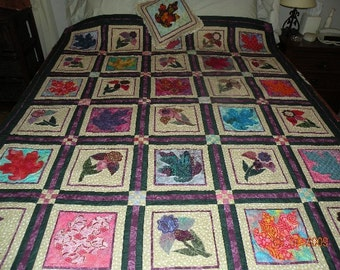Hand Made Applique Quilt - Large - Colors of Autumn