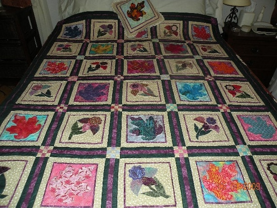 Hand Made Applique Quilt - Colors of Autumn