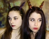 Black and Red Quadra Costume Horns, Spiraled, perfect for Halloween