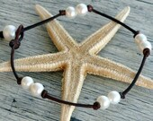 Pearl and Leather Anklet Destin