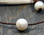 South Shore Solitaire Pearl on Handmade Leather for Swim, Work or a Night on the Town