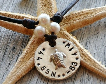 Leather and Pearls Nautical Code Handstamped Longitude Longitude Tri Pearl Necklace