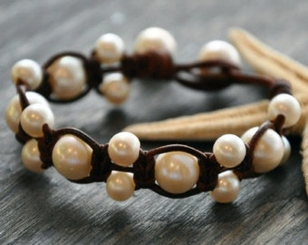 Leather and Pearls Bracelet Odyssey