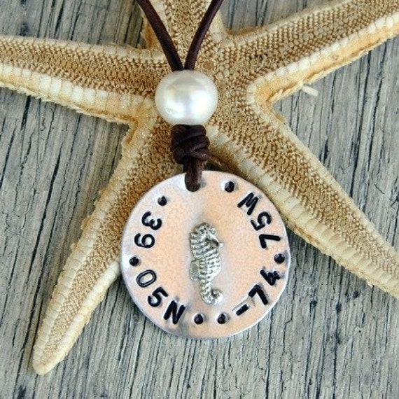 Pearl on Leather Nautical Code Charmed Medallion with Longitude Latitude Necklace