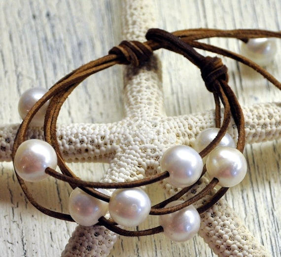 Cosmos...Cosmos of Pearls on Leather Bracelet
