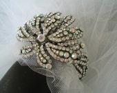 Cuff Bracelet Clear  and Aurora Borealis Rhinestone