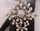 Wedding Cuff Bracelet Aurora Borealis Rhinestone