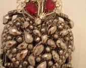 Ex Voto Burning Heart Cuff Bracelet Hematite Rhinestones