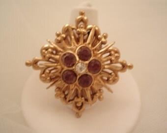 Fleur de Lis Ring Amethyst Rhinestone
