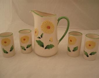 Vintage Pitcher Juice Pottery/Set E-3491