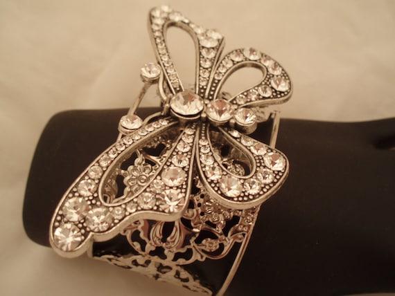 Cuff Bracelet Clear Rhinestone Butterfly