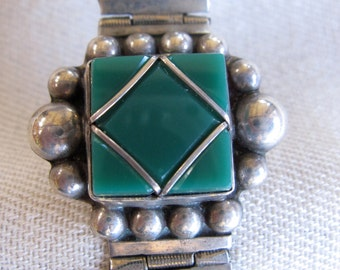 Mexican Sterling Bracelet with Green Glass