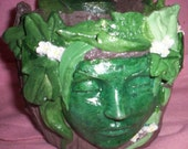 GREENWOMAN PLANTER or Pot for Gardens and Wicca