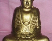 Large 9 inch concrete MEDITATING BUDDHA STATUE for homes, gardens and alters