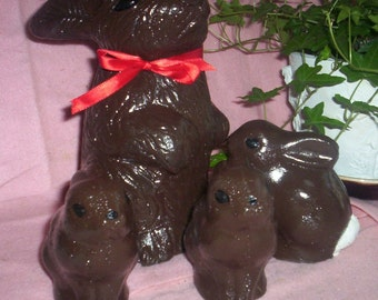Chocolate Brown Bunny Family Statues