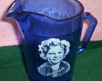 Hazel Atlas Depression Glass Cobalt Blue Shirley Temple Pitcher
