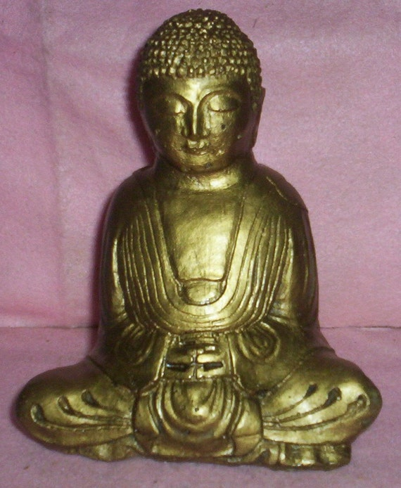 7 inch CONCRETE BUDDHA STATUE For Gardens and Yards and Altars