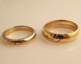 Gemini Twins, Two Gimmal Rings in 18K Yellow and White Gold