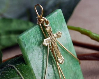 14K Cross Gem Quality Jade Coupon Religous Pendant Cross combined with 14K Gold Cross Religious Jewelry necklace
