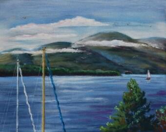 Lake George Northwest Bay pastel painting
