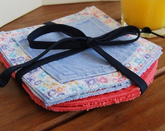 Denim Coasters floral pastel colors set of four drinks party glass coaster furniture protection