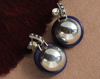 Dome earrings Royal blue and sterling Earring Posts textured women's November gift