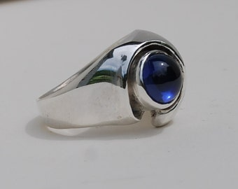 Blue Sapphire Ring On Sale Bold Sterling Statement Beautiful unisex ring women's men's Statement  unique