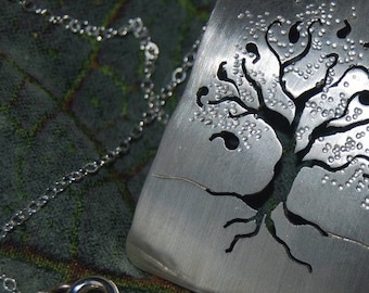Tree of Life Pendent hand cut Sterling Nature family tree leaves branches detailed roots