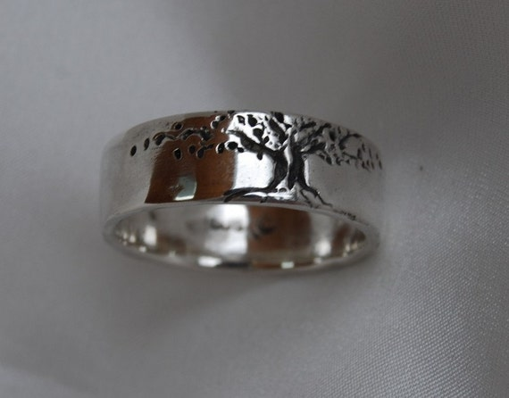 Tree of Life Band 8 mm Wide Sterling Size 5 to 8 wedding band Women's single Sunrise
