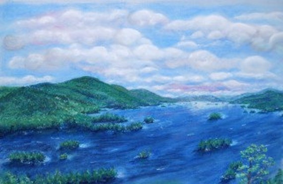 Painting Print of Lake George from Tongue Mountain