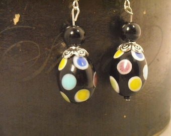 Polkadot Earrings in black and multi colored dots