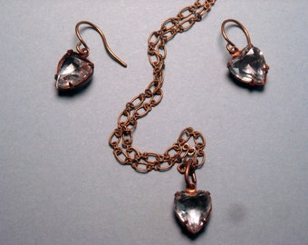 Crystal Heart earring and necklace set.