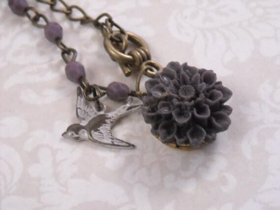 Dainty white love bird  locket necklace