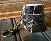 Leather Book Keychain, Dark Brown/Black  with Sage Green Pages