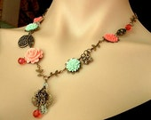 Vintage Inspired Brass Floral Necklace