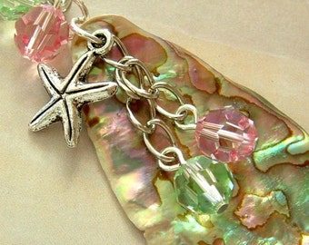 New Zealand Paua Shell (Abalone) Pendant with Starfish and Crystals