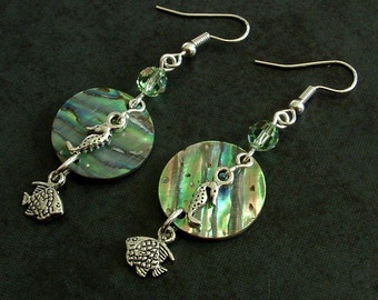 Round Green Abalone / Paua Shell with Sea Horse and Fish Charms Dangle Earrings