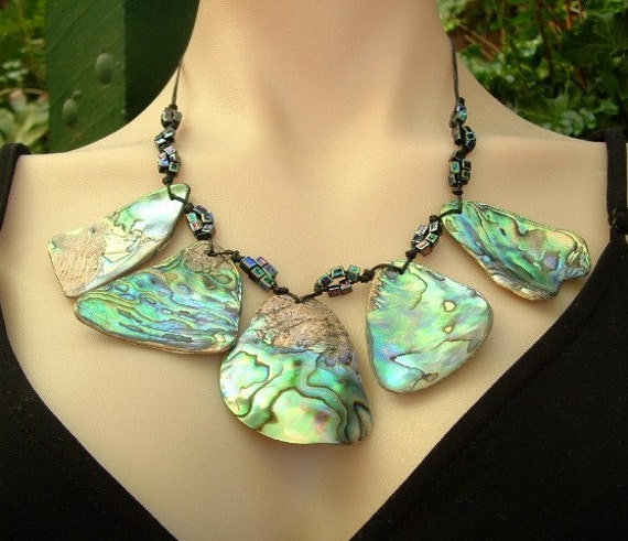 Adjustable Paua Shell Necklace  (New Zealand Abalone)